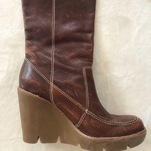 Michael Kors leather knee-high wedge heel boots